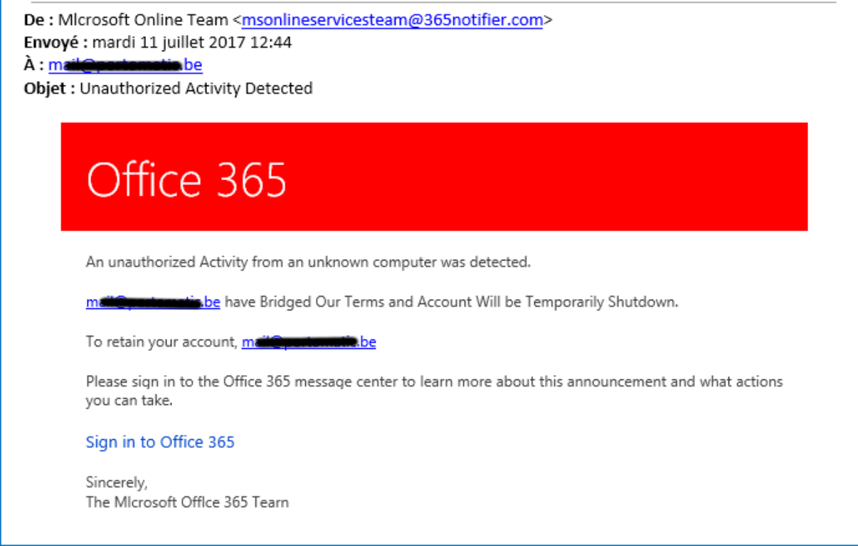 Phishing attempt on Office 365
